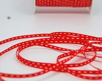 Solid Stitched Center Ribbon -- 1/8 inch -- Bright Red