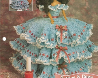 Ruffles and Bows Trinket Box, Crochet Pattern, Doll Dress, Doll Clothes, Annies Fashion Doll, Vintage 1996, FCC11-04, Sewing Supplies, Cute