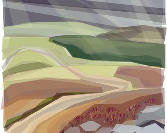Walk on the Moors, Autumn  .. mounted giclee print