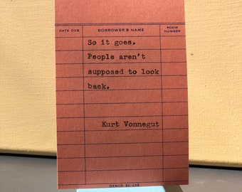 Kurt Vonnegut Typewriter Quote on Vintage Due Date Card