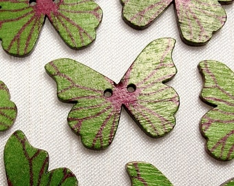 """Apple Green Butterfly: 1-1/8"""" (28mm) Wooden Buttons - Set of 7 New/Unused Matching Buttons"""