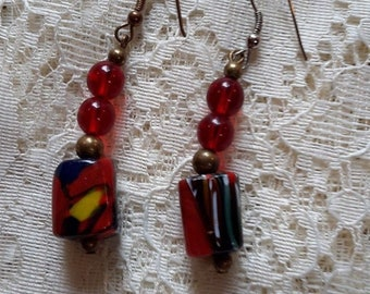 Vintage Murano Glass Cube Bead Earrings Hand Crafted Drop Dangle