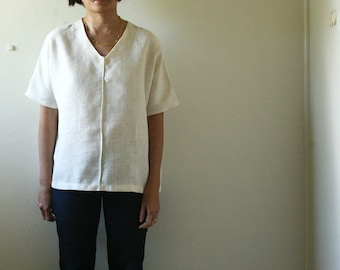LINEN SHIRT - IDA / t shirt / v neck / linen / women / blouse / summer / spring / autumn / made in australia / pamelatang