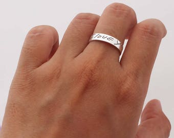 SALE 20% OFF - Actual Signature Ring - Your Actual Handwriting Ring - Band Ring - Personalized Jewelry - Couple Ring - Wedding Ring Sets