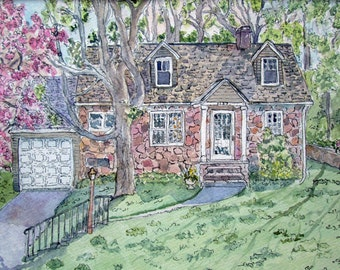 Custom House Portrait Cottage Portrait Architectural Drawing Home Painting Small Home Drawing Pen Ink Watercolor Matted House Portraits