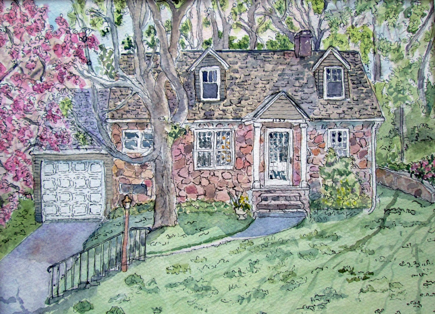Custom House Portrait Cottage Architectural Drawing