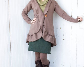 Aurelia Hemp Ruffled Cardigan - Organic Fabric - Made to Order - Many Colors Available - Eco Fashion