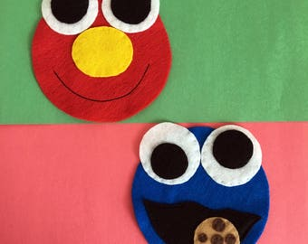 Sesame Street Inspired - Elmo & Cookie Monster - Iron On Applique/Patch x 2 - Made Out of 100% Recycled Felts