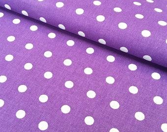 Peas Eggplant and white dot fabric, cotton oeko TeX certified, 1/2 meter
