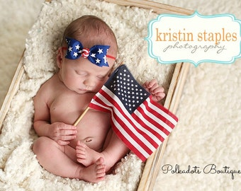 July 4th Headband Boutique Patriotic Headband Stars and Stripes Tuxedo Bow Skinny Elastic Headband Infant Hair Bow July 4th Baby Headband