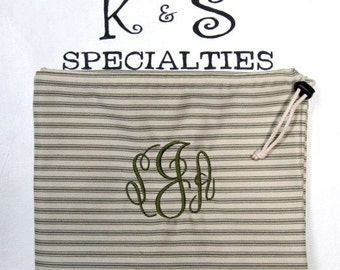 Laundry Bag Made of  Loden Green Stripe Fabric With A Fancy Circle Monogram/Graduation, College Dorm Life, Bridal Party, Travel, Summer Camp
