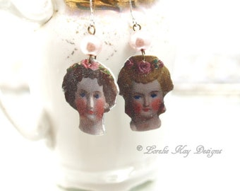 A Study in Dolls Earrings Antique Doll Images Earrings Pretty China Doll Heads Lorelie Kay Original