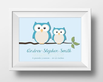 Owl Nursery, Boy Custom Birth Print Nursery Wall Art, Blue Owl Nursery Decor