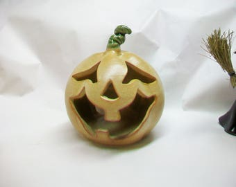 Halloween Pumpkin Luminary - So Very Worried Jack-o-Lantern to Light with Electric Cord -Handmade on the Potters Wheel - Ready to Ship