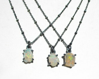 Rough opal necklace, raw Ethiopian opal pendant, rough stone Jewelry, raw stone necklace, oxidized sterling silver chain, October birthstone