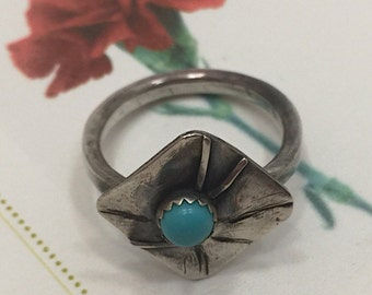 Sterling Silver and Turquoise Ring, Statment Ring,