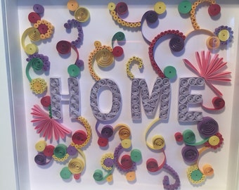 Handmade personalised paper quilled Home frame