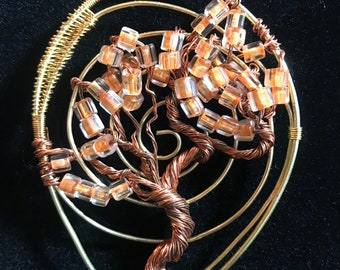 Gold and Copper Tree of Life Pendent
