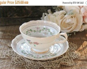 ON SALE Spode Craigavon Lavender Footed Tea Cup and Saucer Set, English Bone China Tea Set for Weddings, Bridesmaid Luncheon, Tea Parties