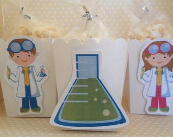 Scientist Party Popcorn or Favor Boxes - Set of 10