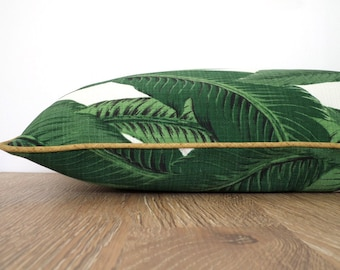 Banana leaf pillow cover green and gold decor, outdoor lumbar case Martinique decor, palm leaf outdoor pillow gold piping regency decor