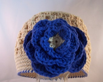 Beanie Hat Crocheted  Baby Size 6-12 Month Beige, Blueberry Modern Trendy Flower