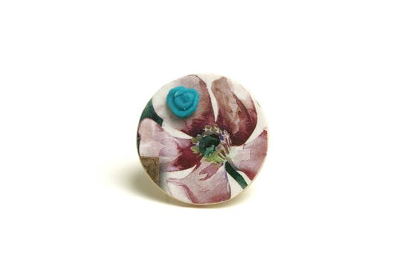 Vintage adjustable flower ring, cabochon turquoise cold porcelain