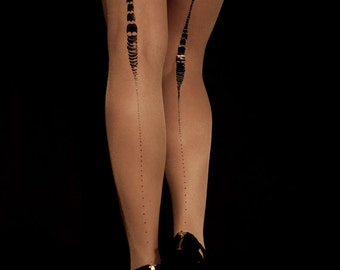 Charleston sheer nude tights available in S-M, L-XL