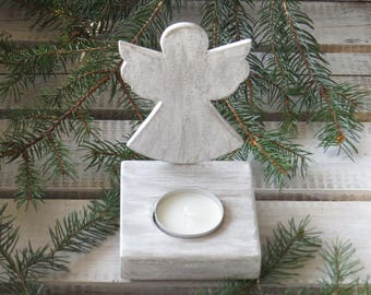 Angel Shabby wooden candle holder, wooden Christmas decoration, wooden angel