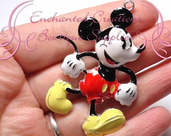 """2"""" Mouse Inspired Charm, Rockabilly Polka Dot Chunky Pendant, Keychain, Bookmark, Zipper Pull, Chunky Jewelry, Purse Charm, Planner Charm"""
