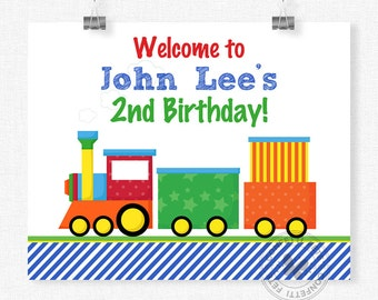 Train Welcome Sign, Train Birthday Sign, Primary Party Sign, Train Birthday Decorations, Printable 8x10 Sign