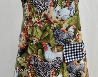 Reversible Bib Style Apron with Roosters Full Length (Adult or Plus Size)
