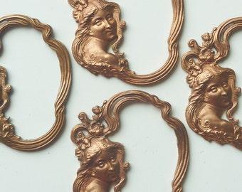 Lg French Art Nouveau Goddess Pendant(1pc)Vintage Brass Stampings/French Brass Stampings/Goddess Stampings/Deco Goddess stamping[#L13]
