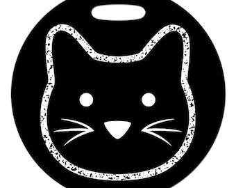 Luggage Tag - Chalkboard Kitty - Round Fiberglass Reinforced Plastic Bag Tag