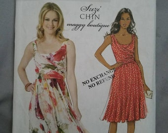 Butterick B5750 Suzi Chin Maggy Boutique, Misses Dress, Lined Dress with Close Fitting Lining, Mock Wrap Pleated Bodice Bias Front Size 6-14