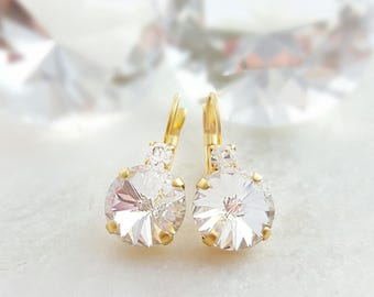 Gold Bridal Drop Earrings - Swarovski Crystal Drop Earrings - Rhinestone Cluster Earrings - Diamond Like Jewelry - Matte Gold Earrings E3379