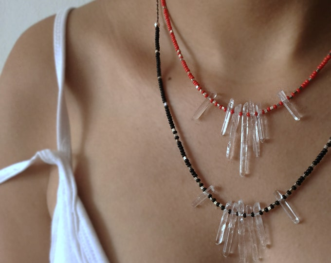 Sterling Silver Necklace with Crystal Quartz, Seed Beads and Hill Tribe Silver