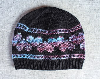 Knitting Pattern: Hearts Hat - Fair Isle Style Knit Beanie Instructions for Adult, Child, Toddler, and Baby Sizes