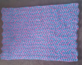 Baby Afghan. Blue and pink. Crib sized blanket. Perfect for a baby shower gift.