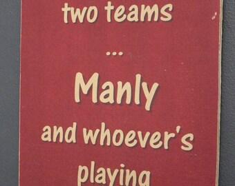 Manly Sea Eagles versus Brisbane Broncos Rugby League Footy Football Sign Bar Pub Man Cave