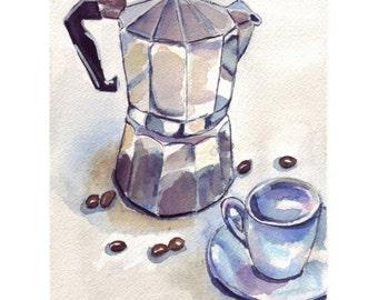 Watercolor Painting - Still Life - Espresso Art, Espresso Maker with Cup 2 Watercolor Art Print, 8x10