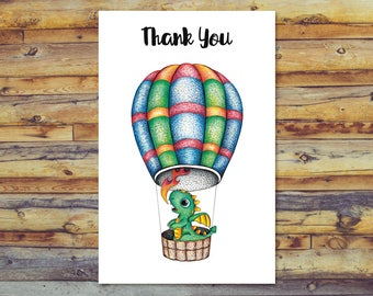 Dragon Thank You Cards, Digital Download, Printable Blank Card, Instant Download, Digital Greeting Card, Cute Dragon in Hot Air Balloon
