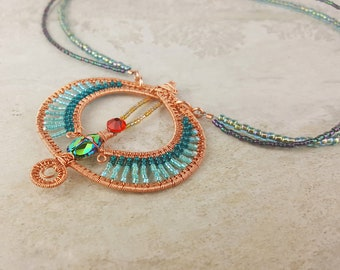 """Egyptian Inspired Scarab Copper Wire Wrapped Pendant Necklace - 17.5"""" Multistrand Beaded Necklace w/ Copper Scarab Pendant - Teal Red Green"""