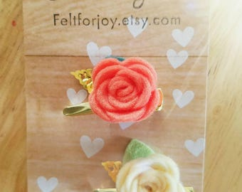 Felt hair clip, spring hair clip, hair accessory, handmade hair clip, flower hair clip, alligator clip, Valentine's day hair clip
