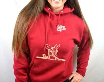 Vintage Sporty Red 80s Hoodie Sweatshirt