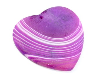 Matte Finish Purple Heart Pendant with White Lines. 43mm x 43mm