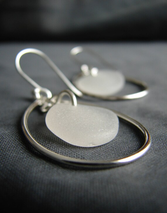 Sea Keeper sea glass earrings in pure white