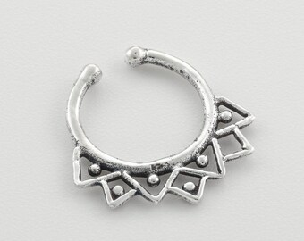 Fake Septum Ring. fake septum piercing. fake septum jewelry. septum clip. silver septum ring. tribal septum. faux septum. septum cuff.