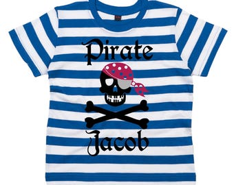 Personalised Pirate with Name Childrens Fun Striped T-shirt