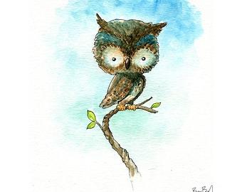 Little Owl Watercolor Print